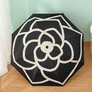 Nero Classico Camellia Flower Ombrello automatico Lusso Brand PARASOLE UV