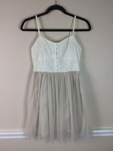 American-Eagle-Outfitters-Womens-Dress-Ivory-Taupe-Lace-Tulle-Faux-Corset-Size-4