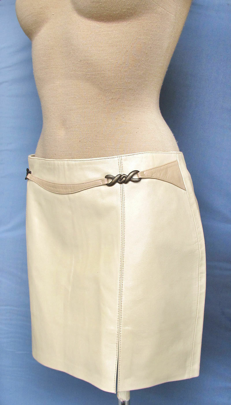 Leather Skirt Mini Beige with pearl effect Hot Sexy and stylish Short Italian