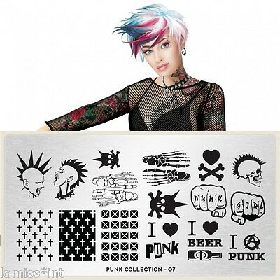 MoYou London PUNK 7 Collection Stamping Schablone, Kreuz Schrift XXL