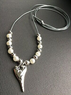 Long Silver Grey Cord necklace with Large Hammered Triangle And Pearls Lagenlook