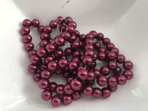 100 Stück Glaswachsperlen 8 mm bordeaux  Perlen basteln Schmuck Perlen M118