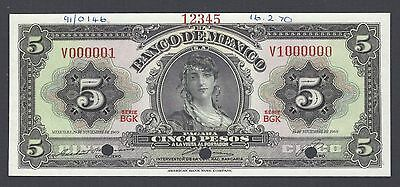 North & Central America Mexico 5 Pesos 19-11-1969 Series Bgk P60js Specimen Aunc-unc To Reduce Body Weight And Prolong Life