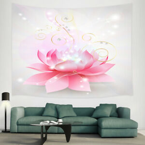 Floral Tapestry Wall Hanging Pink Lotus Flower Decor For Bedroom