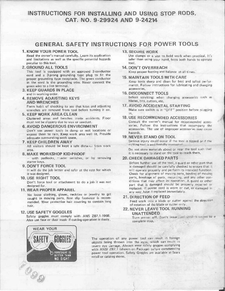 1976 Craftsman 9-29924 & 9-24214 Miter Gauge Stop Rods Owner ManuaI Instructions