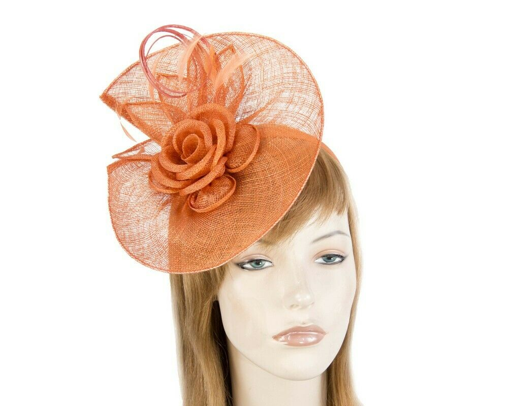 Large orange sinamay racing fascinator with feathers by Max Alexander RRP