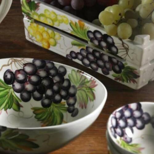 BASSANO Céramique spaghetti bol 21 cm raisins motif d/'Italie NEUF