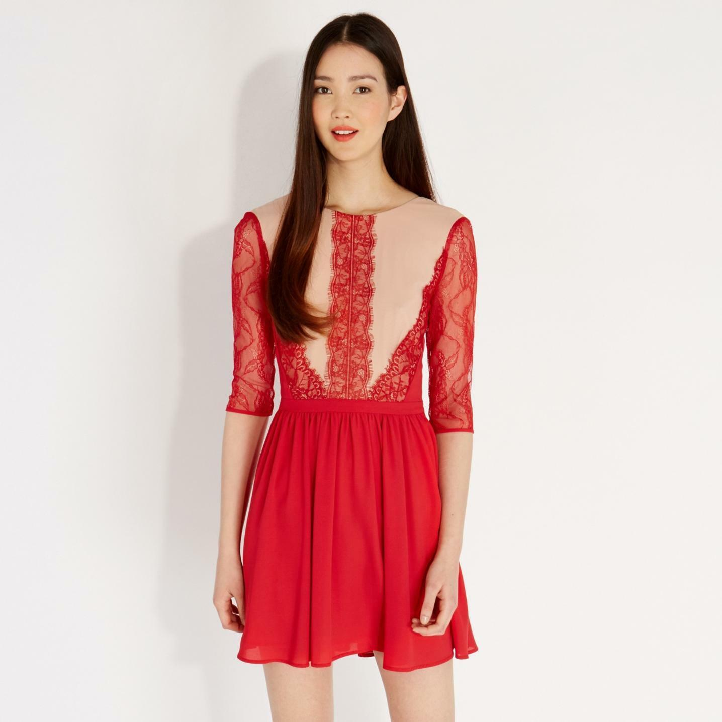Oasis Donna Rosso Adelina Lace Skater Dress 10