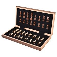 Wood Standard Game Wooden Chess Set Pieces Portable Hand Carved Board Box