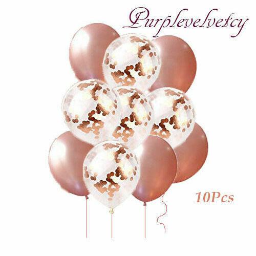 "10X 12/"" Rose Gold Foil Latex Confetti Balloons Helium Ballons  Wedding Hen Party"