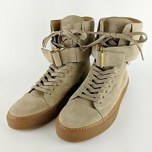 BUSCEMI-Ronnie-Fieg-Tan-Leather-Italian-Ultra-High-Top-Buckle-Sneakers-Size-45