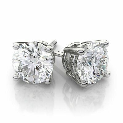 4.00 Ct Round Cut Black Diamond 14k White Gold Over Solitaire Stud Earrings