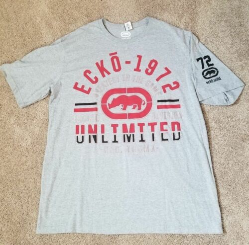 New Big /& Tall Ecko Unltd Gray Red Rhino Short Sleeve Logo T-Shirt 2XB