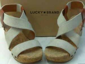 Lucky-Brand-Marla-Sz-7-5M-Wedge-Heels-Light-Beige