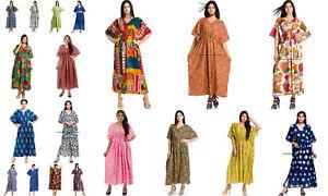 17f34bda6904f Details about Womens Kaftan Beach Wear Boho Indian Cotton Loose Summer Wear  Free Size Dress