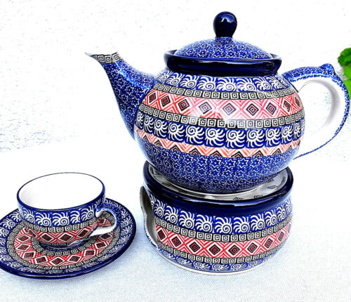 Teekanne mit Stövchen 0,9L /4 Tassen, Bunzlauer Keramik Polish Pottery