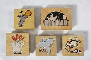 Lot of 5 New Unused Canadian Maple Halloween GHOSTS Wood Mounted Rubber Stamps!