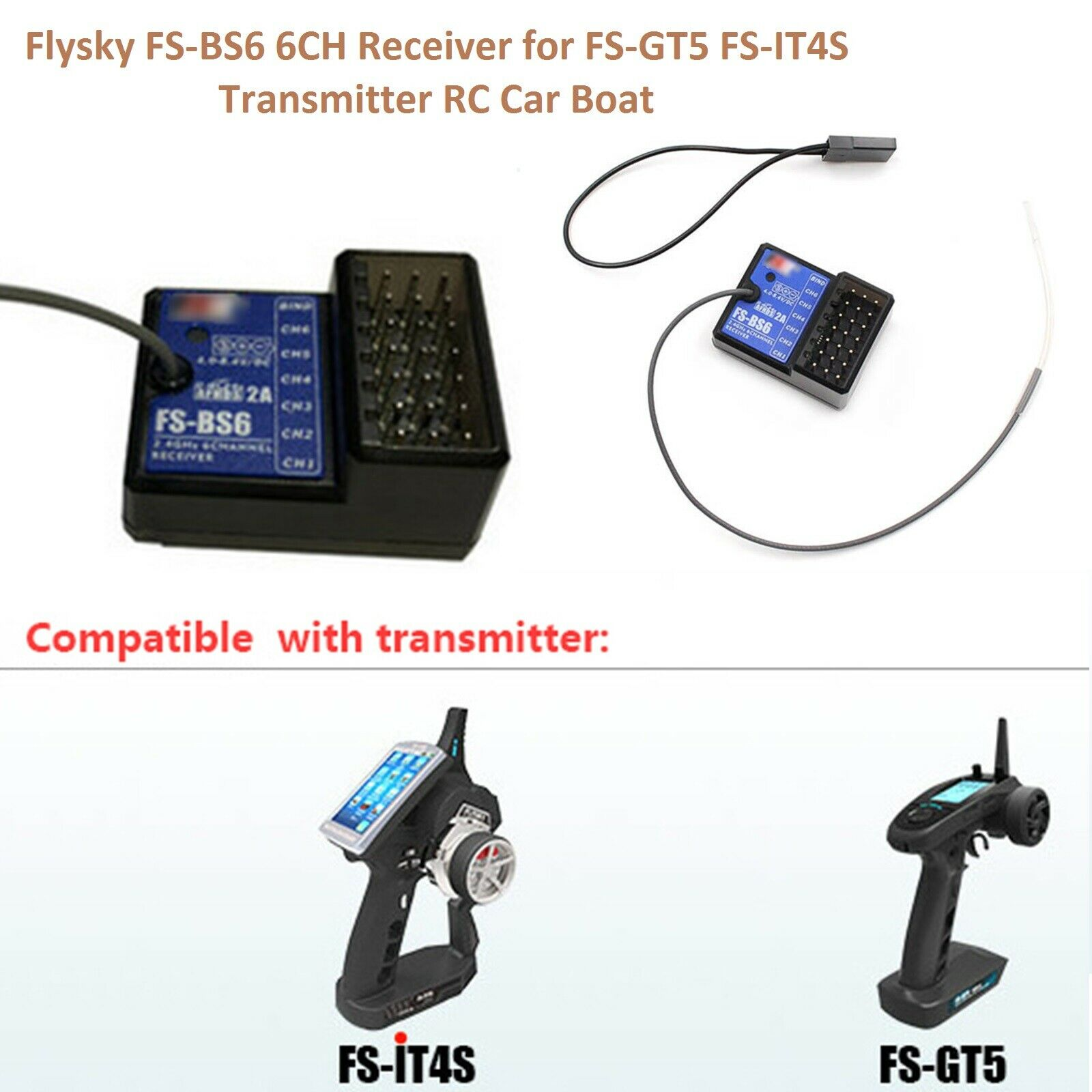 FS-BS6 2.4G 6CH Receiver for RC Car Boat FS-GT5 FS-IT4S Transmitter