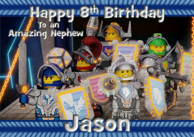 Personalised Birthday Card Lego Nexo Knights Son Grandson Brother