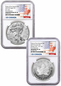 2019-1-oz-Silver-Eagle-amp-Maple-Pride-Two-Nations-2-Coin-Set-NGC-PF70-FR-SKU58815