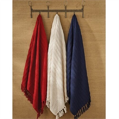 Warm Patriotic Americana Country Red, Cream & bluee Cable Knit Throw Blanlets