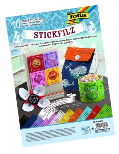 Stickanleitung 10 Blatt 21x29,5cm Stick-Filz inkl Folia Stickfilz