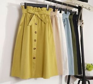Women-Summer-Autumn-Skirt-Midi-Knee-Length-High-Waists-Female-Pleated-Skirts-New