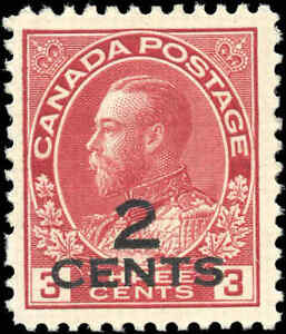 1926-Canada-Mint-H-2c-on-3c-F-VF-Scott-140-KGV-Admiral-Provisional-Stamp