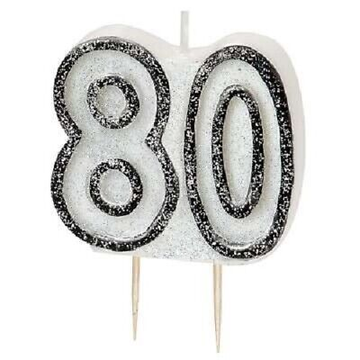 8cm Black Glitz Number 80 Candle Mens 80th Birthday Party Cake Decoration Boys