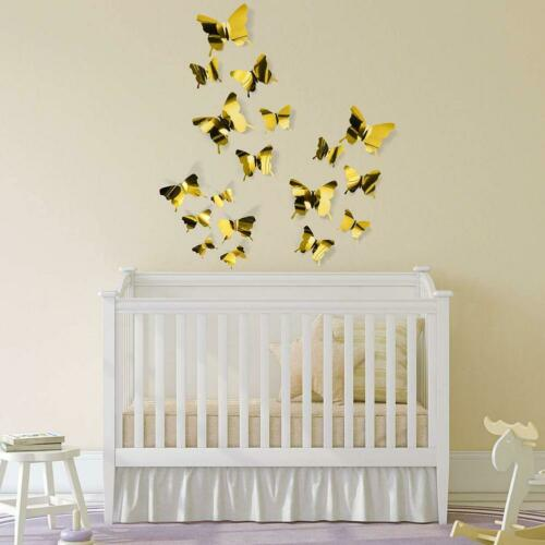 12PCs 3D Mirrors Butterfly Wall Stickers DIY Removable Art Decals Home Decor