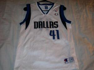 big sale da286 157dc Details about Dirk Nowitzki 41 Dallas Mavericks White NBA Champion Jersey  Boy's Large 14-16