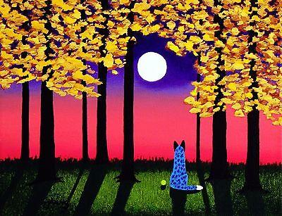 Australian Cattle Dog Blue Heeler Art PRINT Todd Young painting AUTUMN SUNSET