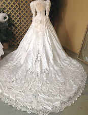 SPECTACULAR WHITE LONG SLEEVE SATIN WEDDING GOWN RENAISSANCE FAIRE DRESS COSTUME