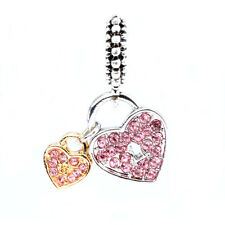 925 Silver Pink Love CZ Gold Silver Pendant Charm Bead Fit Sterling Bracelet