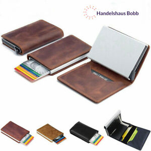 Leder-Kreditkartenetui-RFID-Schutz-Geldbeutel-Geldboerse-Portemonnaie-Etui