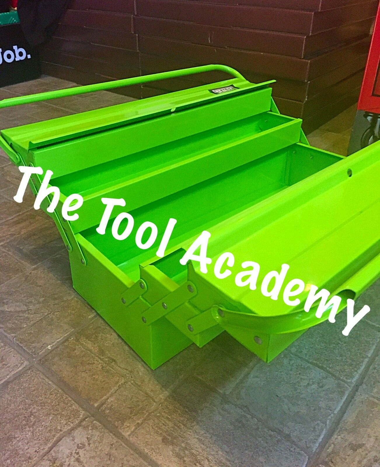 (SBS) Hi Vis Glow Up Green 530mm Long Cantilever Toolbox With Handle