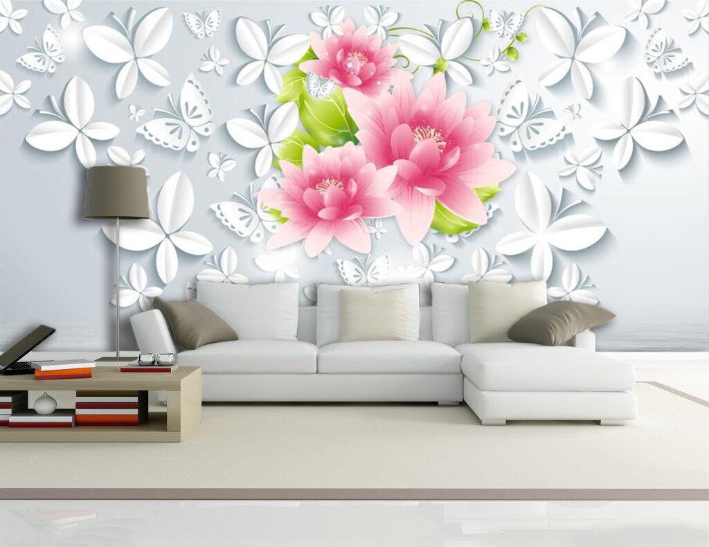 3D Flowers And Butterflies 65 Wall Paper Print Decal Wall Deco Indoor wall Mural