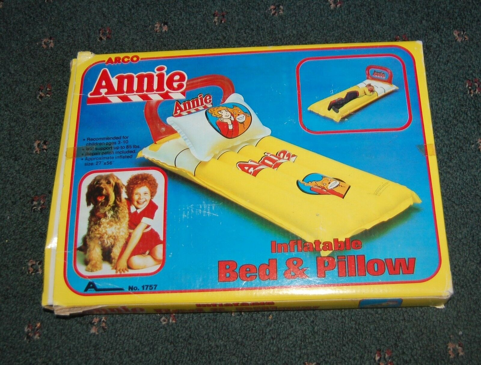 Vintage 1982  Annie Inflatable Bed & Pillow Lttle Orphan Annie NOS