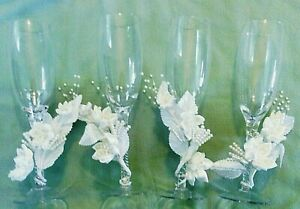 4-Vintage-Victoria-Lynn-Twisted-Stem-Champagne-Wine-Glasses-w-Floral-Wraps-amp-Box