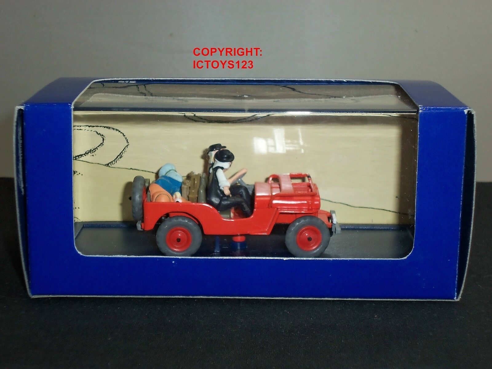 TINTIN NO.7 AU AU AU PAYS DE L'OR black COMIC orange RED WILLYS JEEP DIECAST MODEL CAR 68d35a