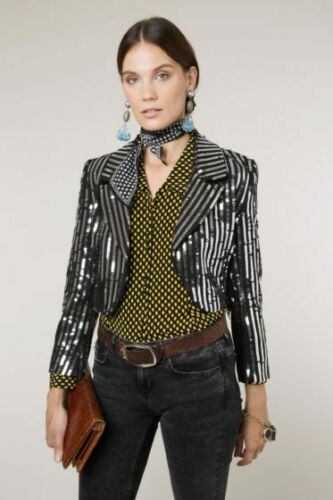 Nouveau RIXO Charlie Silver Sequin Stripe Crop Jacket Sz XS S