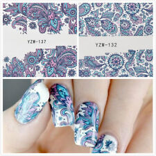 2pc Nail Art DIY Sticker Water Transfer Sticker Blue Flower Decals 3D Decor