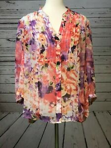 CJ-Banks-Plus-Size-1X-Sheer-Blouse-Floral-Tunic-Womens-Colorful-Lined