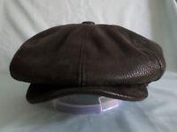 MEN,S 8 PIECE BLACK FAUX LEATHER 8-PANEL NEWSBOY  BAKER BOY CAP S M L XL XXL