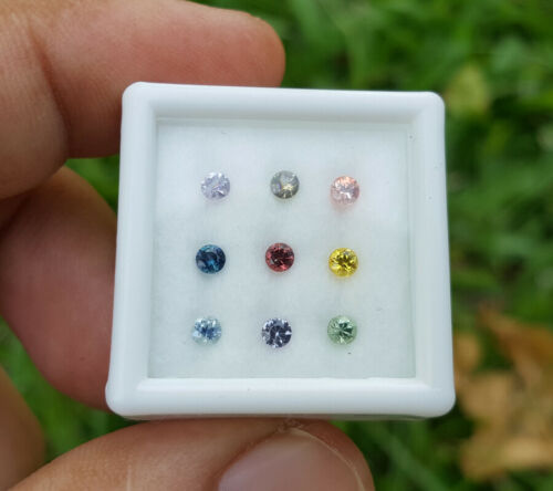 Natural Fancy Sapphire Only Heated Real Loose Gemstones Round Diamond Thailand