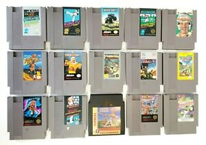 NES-Nintendo-Lot-of-15-Games-Cleaned-amp-Tested-Dragon-Power-Mario-Bros-WWF-NBA