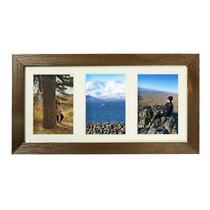 4x6 Multiple Wood Collage Picture Frame with 3 Openings. Barnwood Rustic Panel