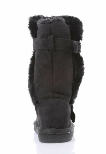5 Color Slip On Buckles Casual Kids Girls Mid-Calf Boots Faux Fur Youth Size