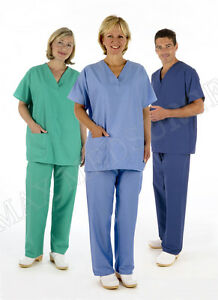 Medical-Reversible-Scrub-TUNIC-TROUSER-Set-Unisex-NHS-Compliant-Hospital-Suit