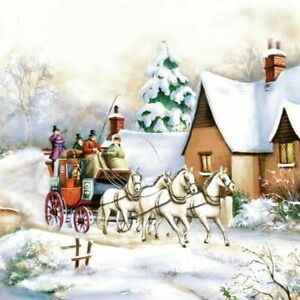 4-SERVIETTEN-NAPKINS-WINTER-CARRIAGE-RIDE-33X33-PFERDE-KUTSCHE-HAUS-FLUSS-BRUCKE